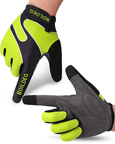 boildeg Cycling Gloves Full Finger Mountain Bike Gloves with Anti-Slip Shock-Absorbing Pad Breathable,Touchscreen MTB Road Biking Gloves for Men/Women (Green, M)