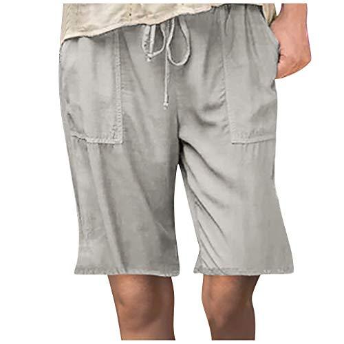 Chino Hose ÜBergroßE Tasche Plus Size Solid Tightness Kurz Geschnittene Hosen Tasche Overalls Casual Pants Herren Stretch Schiedsrichter Hose FußBall Hose Tennishose Boxhose dauerhaft