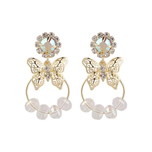 Shiny Crystal Butterfly Earrings For Women Gold Color Metal Hollow Out Rhinestones Animal Drop Earrings Pendientes
