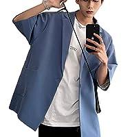 [AOLIPT]テーラードジャケット メンズ サマージャケット スーツ 夏 ジャケット ブレザー 半袖 ゆったり ビジネス カジュアル 大きいサイズ 夏服 おしゃれ (3XLブルー)