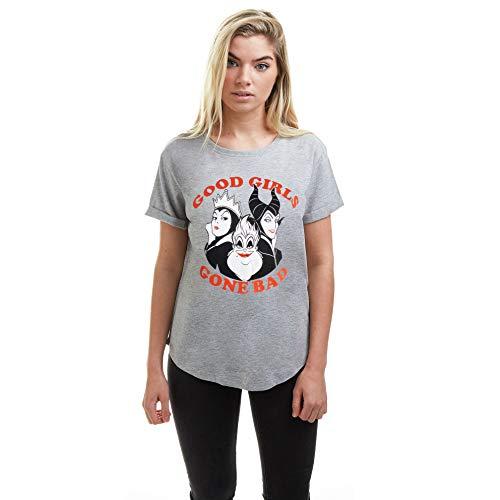 Disney Good Girls Gone Bad Villians Camiseta, Gris (Grey Marl SPO), 40 (Talla del Fabricante: Medium) para Mujer