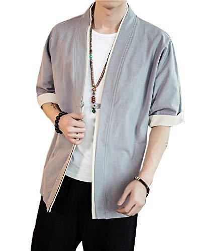 Uomo Cappotto Kimono Giapponese Mens Vintage Cloak Cotton Linen Blends Loose Fit Short Coat Jacket Cardigan Grigio M