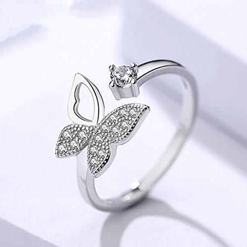 Mayelia Anillos de cristal de plata ajustables anillo de dedo mariposa anillos abiertos para mujeres y niñas