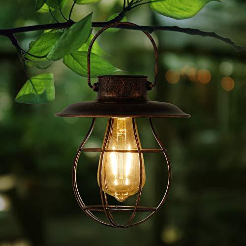 Solar Laterne Außen Hängend Metall Dekorative Garten Solarleuchten mit Edison Glühbirne, Wasserdichtes solarbetriebenes Licht für die Veranda Weg Terrasse Hof (Runder Boden)