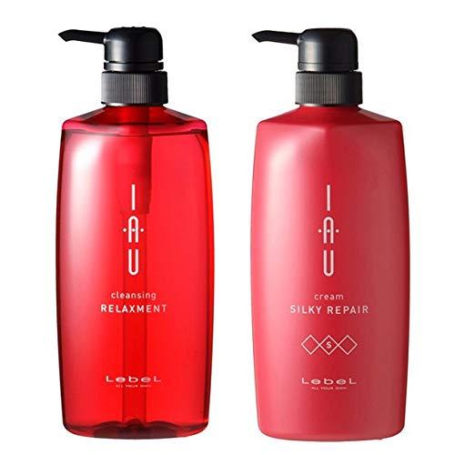 Lebel IAU Cleansing Relaxment Hair Shampoo 600ml & Lebel IAU Cream Silky Repair Hair Treatment 600ml Set (Green Tea Set)