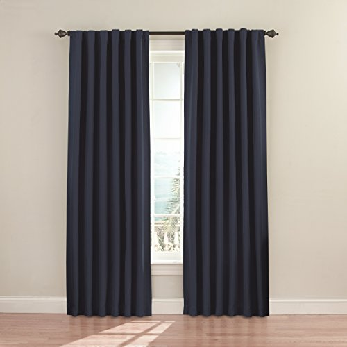 Eclipse 11353052X084DKB Fresno 52-Inch by 84-Inch Blackout Single Window Curtain Panel, Dark Blue