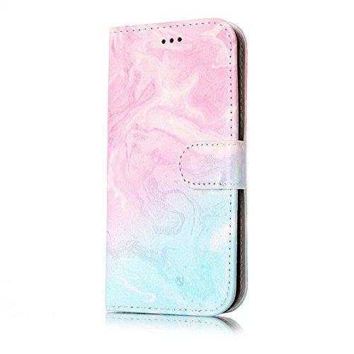 Eazyhurry - Funda de Piel con Tapa para Samsung Galaxy Series Multicolor Pink Blue Marble Samsung Galaxy A5 2017