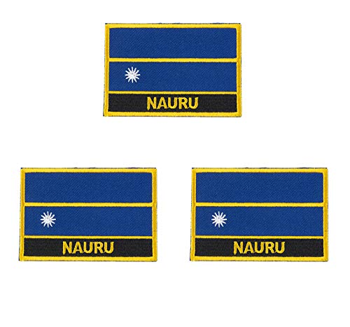 3 Stück Nauru bestickte Flaggen-Emblem-Applikation zum Aufbügeln oder Aufnähen.