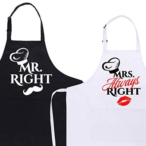 adakel 2 Pack Schürze Mr und Mrs, Verstellbare Grillschürze für Paare Lustiges Geschenk für Weihnachten Vatertag Hochzeit Geburtstag Brautparty Grillparty