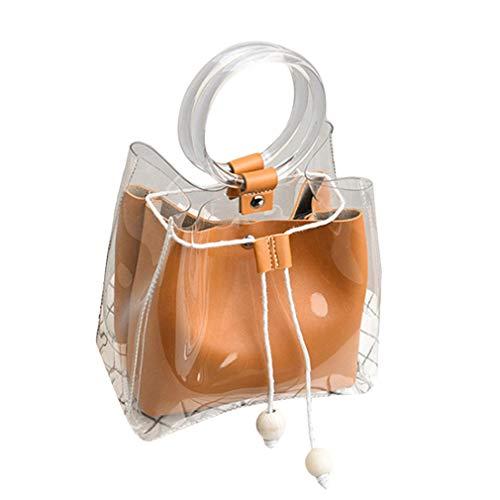 Yeucan Bolso redondo con asa de anillo resistente al agua transparente para mujer, marrón (Marrón) - Yeucan