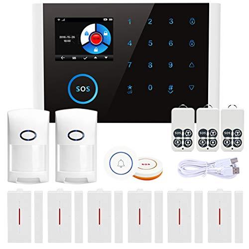 Huwaioury 14-teiliges Set APP Control Wireless Home Security GSM Alarmanlage WiFi GPRS DIY Home Einbrecher Security Ring Alarmanlage Bewegungsmelder Mehrsprachig