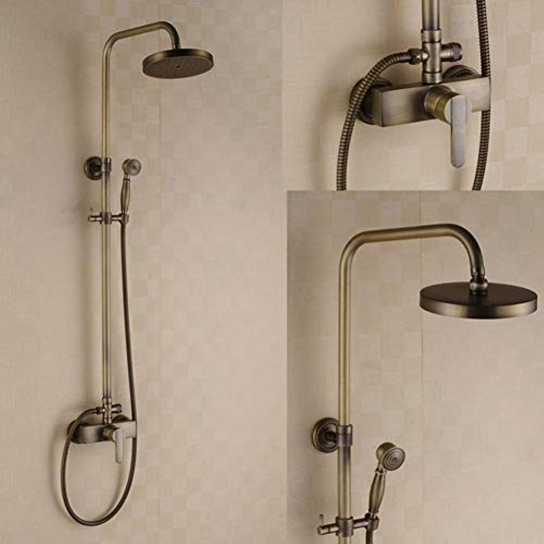 Haus und Hotel High-end-Wand-set Dusche-, Kupfer gegossene Drei-Wege-Hahn, oben Düse und hand Duschkopf, Europische Retro Stil Badezimmer Dusche system