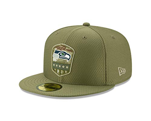 New Era - NFL Seattle Seahawks On Field 2019 Salute to Service 59Fifty Fitted Cap - Olivgrün Farbe Olivgrün, Größe 7 5/8 (60,6cm)