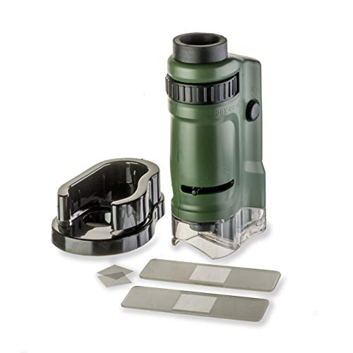 Carson MicroBrite 20x-40x LED Lighted Pocket Microscope for Learning, Education and Exploring (MM-24, MM-24MU)