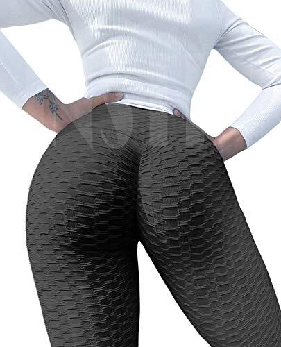 INSTINNCT Women Workout Gym Leggings High Waist Scrunch Butt Lift Anti Cellulite Tights Sexy Booty Shaper Textured Yoga Pants (A-Black,L)