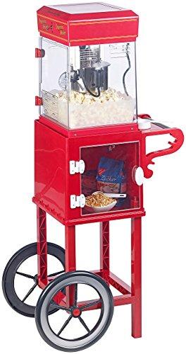 """Rosenstein & Söhne Popcornmaschine Cinema: Profi-Popcorn-Maschine\""""Cinema\"""" mit Rollwagen im Retro-Design (Popcorn-Machines)"""