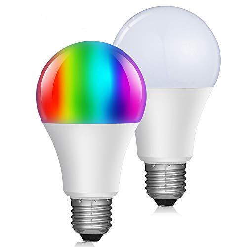 Smart WiFi Led Bombilla con Regulable Blanco cálido RGBW (2700k) Cambio de Color multicolor A21 E26 bombilla inteligente funciona con Amazon Echo Alexa y Google Home (Paquete de 2) Smart Light Bulb Bulbo