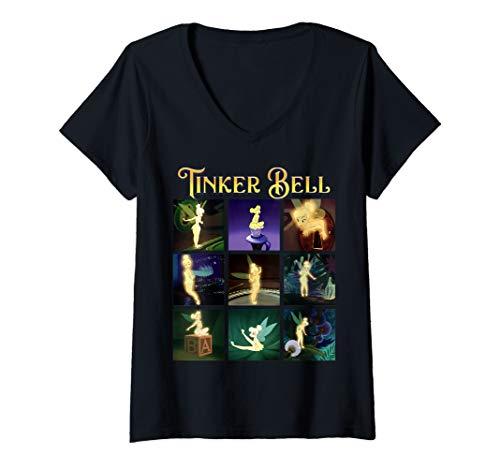 Womens Disney Peter Pan Tinker Bell Scene Box Up V-Neck T-Shirt