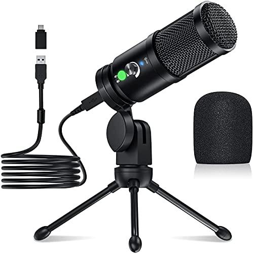 Micrófono USB, ZKMAGIC Micrófono PC Micrófono de Condensador con Monitor de Auriculares de 3,5 mm para Transmisión en Streaming y Videos, Compatible con Tipo-C