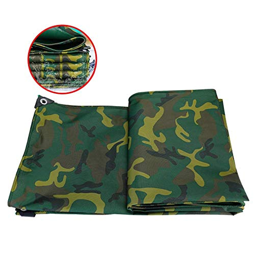 ZWXXQ Waterproof Tarpaulin Thick with Eyelets Tarpaulin Heavy Duty Tear Resistant Camouflage Tent for Camping Tent Boat-5×6m