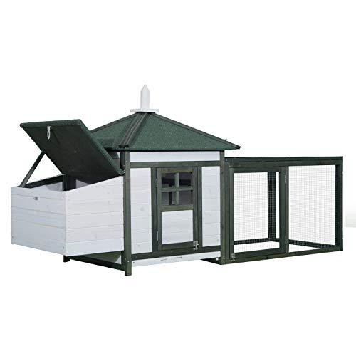 Pawhut Poulailler Cottage Multi-équipement perchoir Rampe pondoir enclos tiroir à déjection 196L x 76l x 97H cm Bois Massif pin Vert Blanc