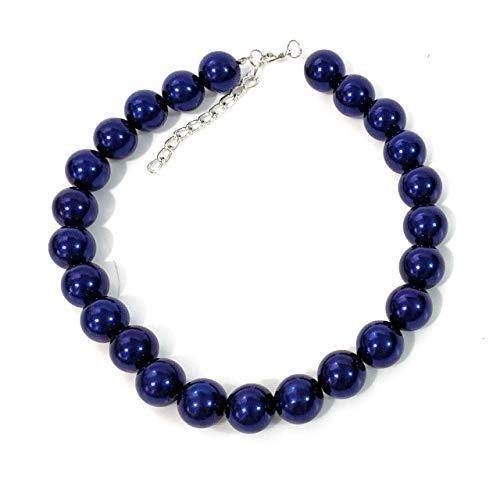 Caprilite Statement-Halskette, 18 mm, groß, Kunstperlen, Marineblau