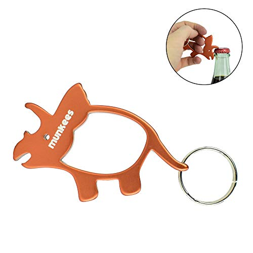 AceCamp Munkees Triceratops Dinosaur Bottle Opener Keychain, Small Pocket-Sized Bottlecap & Wine Openers, Mini Paleontology 3-Horned Keyrings, Key Chain Opens Beer, Cans, Caps & More