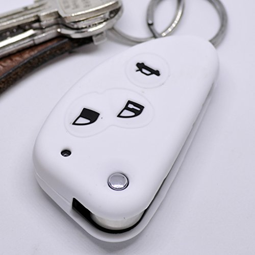 Soft Case Schutz Hülle Auto Schlüssel 3 Tasten für Alfa Romeo 156 147 GT 97-10 / Farbe Weiß