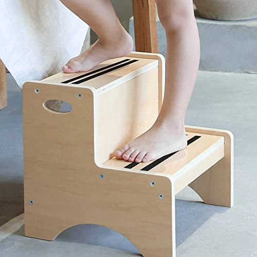 HAJACK Step Stool for Kids Wood Two Step Children#039s Stool with Bonus Safety NonSlip Mats and Handles Bathroom Potty Stoolamp Kitchen Step Stool for Home Use Natural