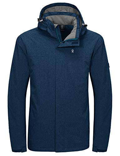 Little Donkey Andy Men's Waterproof Outdoor Jacket Winter Windproof Warm Ski Jacket with Detachable Hood Blue Heather XL