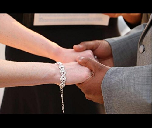 Long Way Women's Silver Plated Chain Clear Austrian Crystal White Rhinestone Link Bracelets Wedding Jewelry