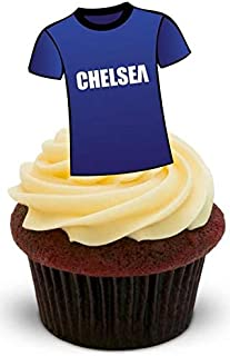 FOOTBALL SHIRT CHELSEA - 12 Edible Stand Up Premium Wafer Cake Toppers
