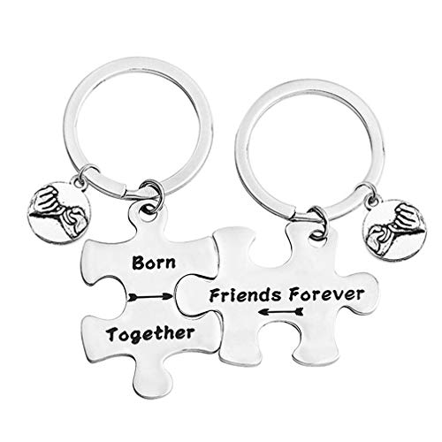 bobauna Born Together Friends Forever Puzzle Piece Keychain Set Gift For Twin Sisters Brothers BFF (born together keychain set)