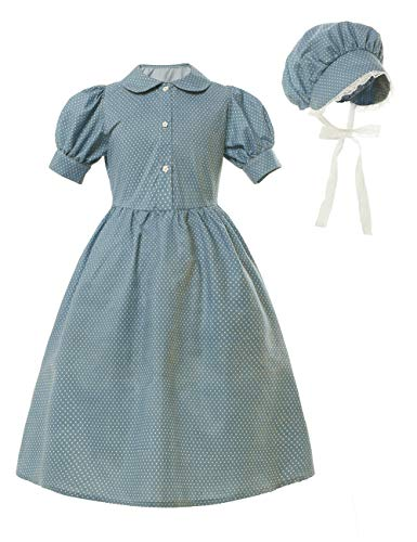 Prairie Pioneer Dress for Girls Laura Ingalls Wilder Colonial Costume Early American Girl Dresses, Azul, 6Years-7Years