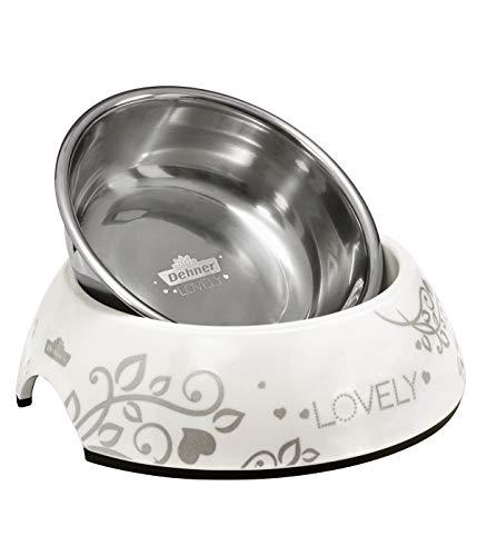 Dehner Premium Lovely Katzennapf, Ø 14 cm, Höhe 4.7 cm, 160 ml, spülmaschinenfest, Melamin/Edelstahl/Gummi, weiß