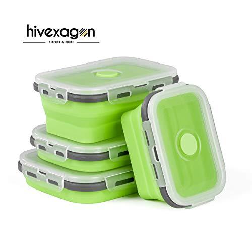 Hivexagon Zusammenklappbare Lebensmittel-Lagerbehälter Lunchbox aus Silikon,Nahrungsmittel Behälter 4 Satz Mittagessen Bento Kasten BPA Frei zum Campen Outdoor und Wandern CP023
