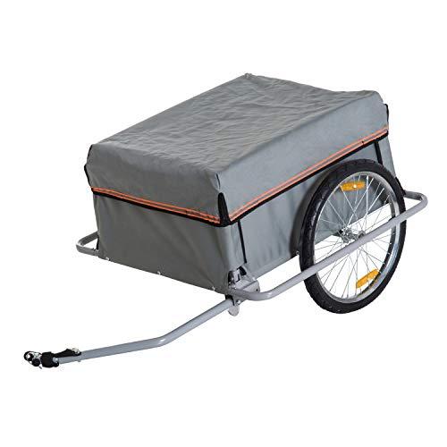 HOMCOM Carrello per Bici Rimorchio per Bicicletta in Acciaio, 140 × 88 × 60cm