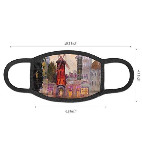 Mouth Mask Unisex Breathable Anti-dust Mask,Painting Of Moulin Rouge In Paris City Centre Of Love...