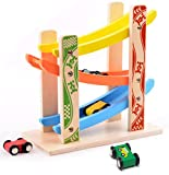 MrSure Ramp Race Track Toys with 4 Wooden Mini Cars, Wooden Car Game for Toddlers, Preschool Educational Gift for Boys and Girls