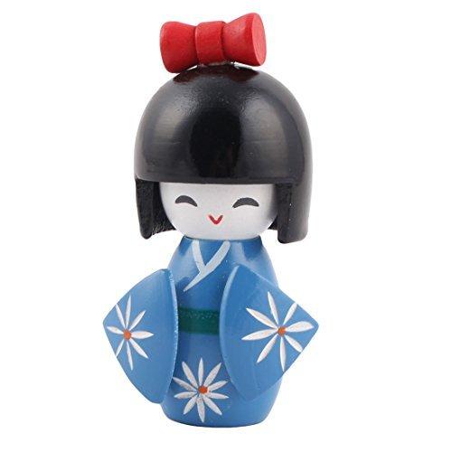 DealMux Escritorio de Madera Hecho a Mano Flor grabada Oriental Japonesa de la Muchacha del Kimono de la muñeca de Kokeshi Azul