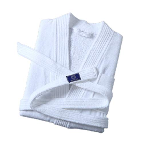 Loungewear - Albornoz unisex de algodón con bolsillos para baño, cocina, hotel, albornoz para mujer (color: blanco, tamaño: XL)