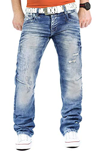 Cipo & Baxx Herren Jeans Mens Pants Freizeit-Hose Clubwear Designer Style Top, Blau, 33W / 34L