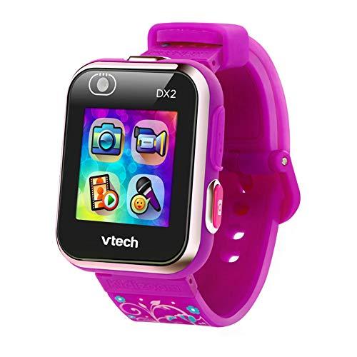 VTech - Kidizoom Smart Watch DX2, Reloj inteligente para niños, doble cámara de fotos, vídeos, juegos, color Morado con flores, Versión ESP (80-193837)