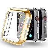 Yoowei [3-Pack Apple Watch Series 4/Series 5 Fundas 44mm (Dorado + 2 Transparente), Protector iWatch Case Protección Completo Ultra Funda Suave TPU para Nueva Apple Watch 4/5 44mm