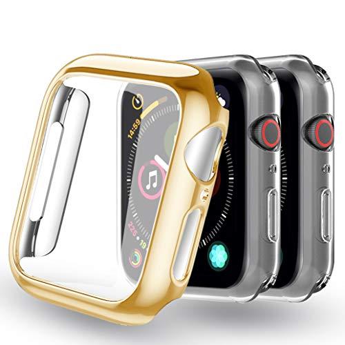 Yoowei [Confezione da 3] Cover per Apple Watch 42mm Series 3 / Series 2, iWatch Case Protettore Schermo Protettivo Tutto Intorno Trasparente Morbido TPU Paraurti Silicone Custodia, Oro