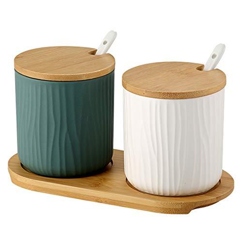OnePine 2er Set Keramik Gewürzdosen Zuckerdose Keramik Zucker Schüssel mit Löffel und Bambus Deckel für Tee Zucker Salz Gewürze Bei Zuhause und Küche