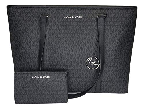 Bundle of 2 items: MICHAEL Michael Kors Sady Large MF TZ Tote bundled with Michael Kors Jet Set Travel Slim Bifold Wallet Extra Large Saffiano Leather Tote, Top zip closure, Double top handles, slip pocket in back Interior : 1 main compartment, 1 lar...