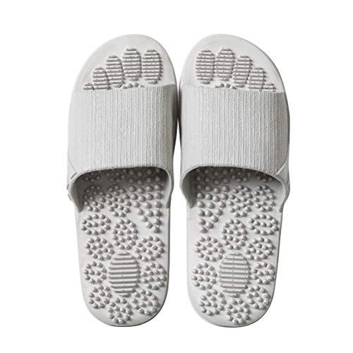 Fenical Massage Hausschuhe Therapeutische Reflexzonenmassage Sandalen für Fuß Akupunkturpunkt Massage Hausschuhe Strand Flip Flops - Grau (Größe 44-45)