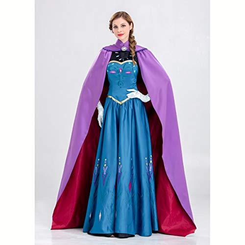 HIZZEEN Schnee-Königin Halloween-Kostüm für Erwachsene Prinzessin Frauen Role Play Outfits Märchenbilderbuch-Kleid mit Umhang,XXL