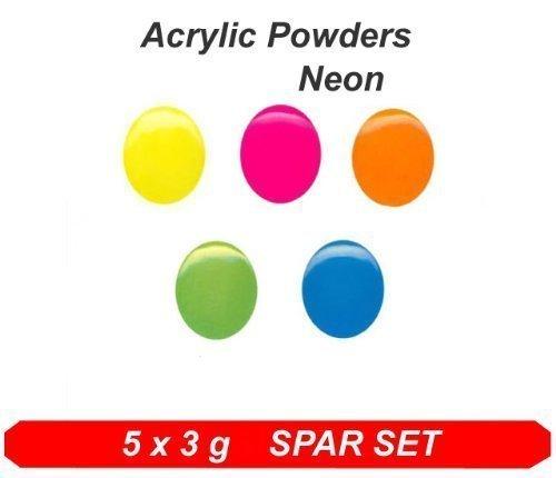 Poudre Acrylique Color Néon Couleurs * colaxy acrylique en poudre 5 x 3 g Neon Set *